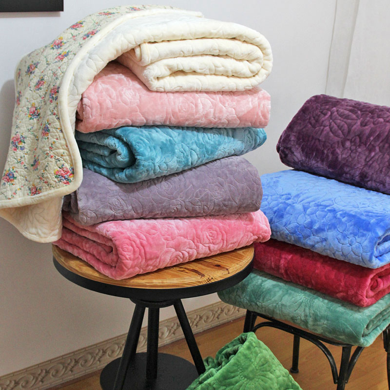 flannel embroidery quilt set