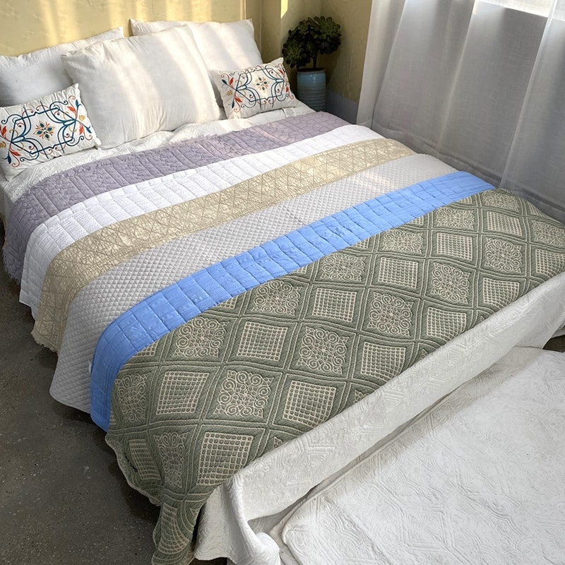 embroidered quilt stone washed